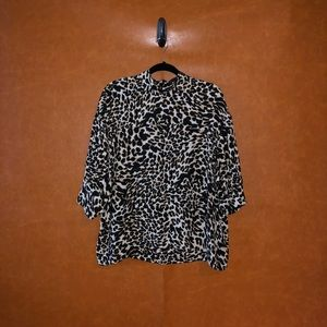 Zara Woman- Animal print long sleeve shirt